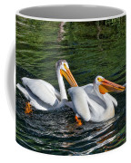 White Pelicans Fishing For Trout Coffee Mug by Kathleen Bishop
