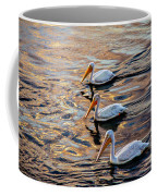 White Pelicans  In Golden Water Coffee Mug