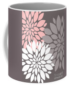 White Pink Gray Peony Flowers Coffee Mug