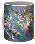 White Rabbits On The Run Coffee Mug