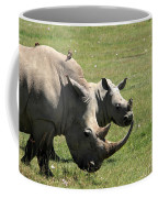 White Rhino Mother And Calf Coffee Mug