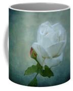 White Rose On Blue Coffee Mug