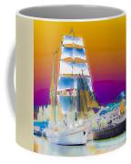 White Sails Ship And Colorful Background Coffee Mug