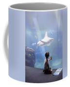 White Shark And Young Boy Coffee Mug by David Smith