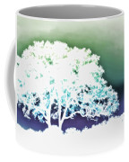 White Silhouette Of Oak Tree Against Blue And Green Watercolor Background Coffee Mug
