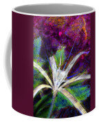 White Spider Flower On Orange And Plum - Vertical Coffee Mug