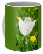 White Tulip On The Green Background Coffee Mug