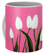 White Tulips On Pink Coffee Mug