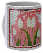 White Tulips On Pink In Stained Glass Coffee Mug