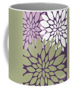 White Violet Green Peony Flowers Coffee Mug
