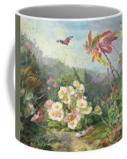 Wild Flowers And Butterfly Coffee Mug by Jean Marie Reignier