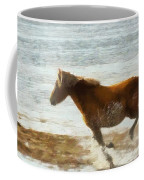 Wild Horse Running Through Water Coffee Mug