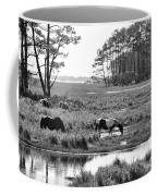 Wild Horses Of Assateague Feeding Coffee Mug by Dan Friend