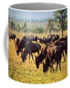 Wildebeests Herd. Gnu On African Savanna Coffee Mug