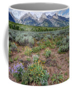 Wildflowers Bloom Below Teton Mountain  Range Coffee Mug