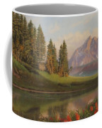 Wildflowers Mountains River Western Original Western Landscape Oil Painting Coffee Mug