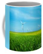 Wind Turbines On Green Field Coffee Mug