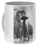Windmill In The Snow Black And White Coffee Mug