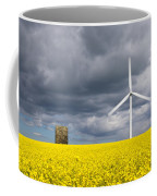 Windmill With Motion Blur In Rapeseed Field Coffee Mug