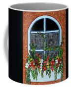 Window Flower Box On A Stucco Wall Coffee Mug