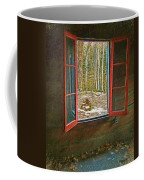 Window With View Abandoned Elkmont Log Cabin Autumn Coffee Mug