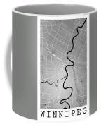 Winnipeg Street Map - Winnipeg Canada Road Map Art On Colored Ba Coffee Mug
