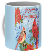 Winter Blue Cardinals-merry Christmas Card Coffee Mug