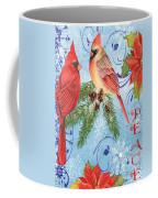 Winter Blue Cardinals-peace Card Coffee Mug