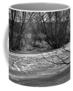 winter day BW-Black and white presentation of Snow on a frozen creek south  Coffee Mug