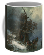 Winter Landscape With Figures On A Frozen River Coffee Mug by Heinrich Hofer
