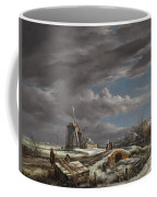 Winter Landscape With Figures On A Path Coffee Mug