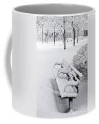 Winter Park With Benches Coffee Mug