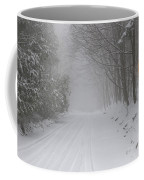 Winter Road During Snow Storm Coffee Mug