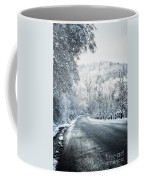 Winter Road In Forest Coffee Mug
