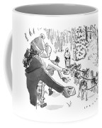 Winter Suited Volunteers Hold Out Dog Dishes Coffee Mug