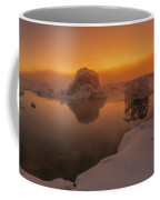 Winter Sunset And Fog Over Lake Myvatn Coffee Mug