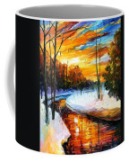 Winter Sunset - Palette Knife Oil Painting On Canvas By Leonid Afremov Coffee Mug