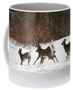 White Tailed Deer Winter Travel Coffee Mug
