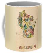Wisconsin Map Vintage Watercolor Coffee Mug