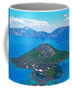 Wizard Island From Watchman Overlook In Crater Lake National Park-oregon  Coffee Mug
