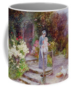 Woman And Child In A Cottage Garden Coffee Mug