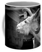 Woman And Donkey Black And White Coffee Mug
