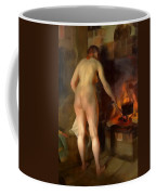 Woman Cooking Over An Open Fire Coffee Mug
