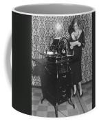 Woman Demonstrates Duplicator Coffee Mug
