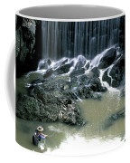 Woman Flyfishing Below Waterfall Coffee Mug