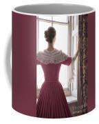 Woman In 18th Century Dress At The Window Coffee Mug