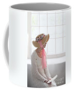 Woman In A Regency Period Empire Line Dress With Straw Bonnet Si Coffee Mug