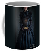 Woman In A Victorian Mourning Dress Holding A Candle Coffee Mug