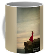 Woman In A Vintage Red Dress On A Windy Clifftop Coffee Mug