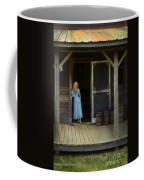 Woman In Cabin Doorway Coffee Mug